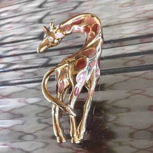 Vintage Giraffe Brooch Pin Enamel